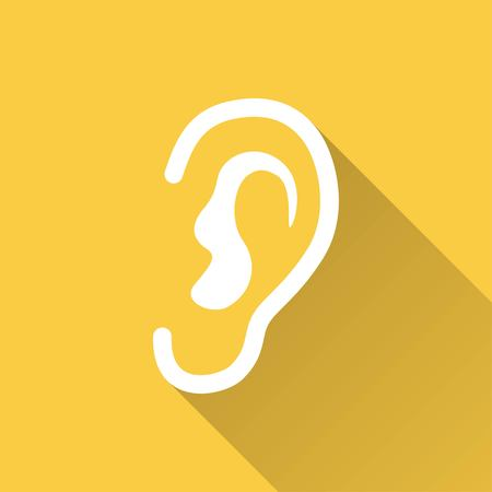 listener: Ear    vector icon with long shadow.  Illustration  for graphic and web design.