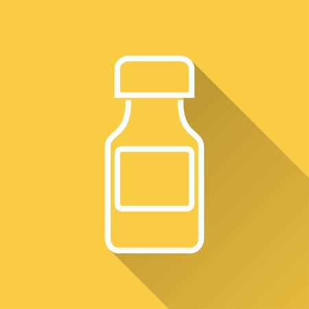 a substance vial: Medicine bottle   vector icon with long shadow.  Illustration  for graphic and web design. Illustration