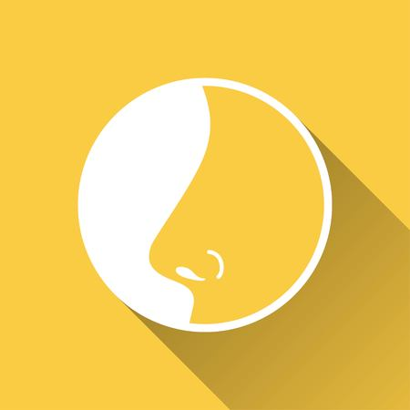 sniff: Nose    vector icon with long shadow.  Illustration  for graphic and web design.