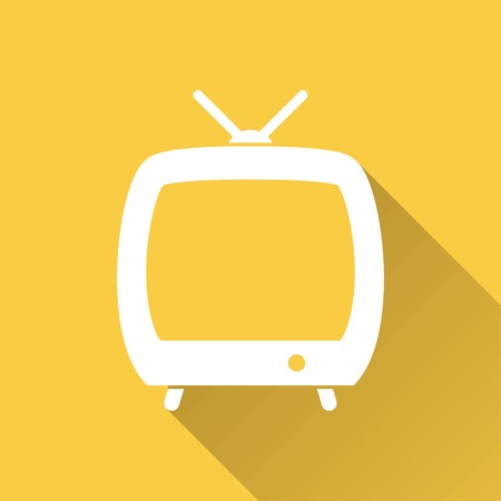 flatscreen: TV   vector icon with long shadow.  Illustration  for graphic and web design.