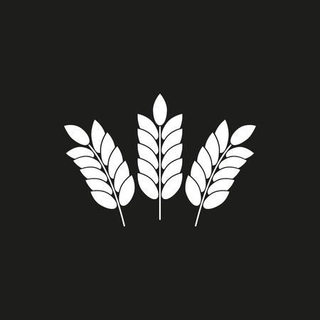 cebada: icono del vector de la cebada. Ilustración blanco y negro aislado en el fondo para el diseño gráfico y web.
