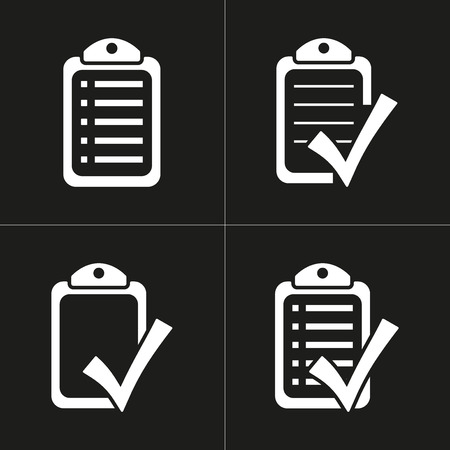 filling folder: Checklist   vector icon. White illustration isolated on black background for graphic and web design.