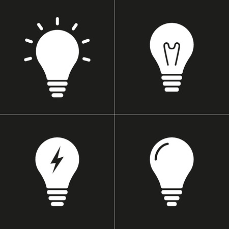 invent clever: Lamp   vector icon. White illustration isolated on black background for graphic and web design.