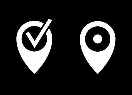 map pin: Map pin   vector icon. White illustration isolated on black background for graphic and web design.