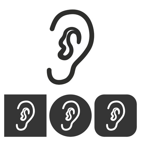 audible: Ear    vector icon. Black  illustration isolated on white  background for graphic and web design. Illustration
