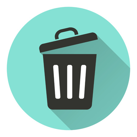 sewage: Bin   vector icon with long shadow. White illustration isolated on green background for graphic and web design.