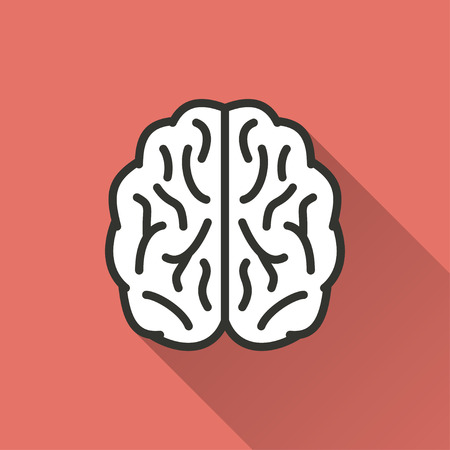 brain illustration: Brain   vector icon with long shadow. Illustration  isolated on red background for graphic and web design. Illustration