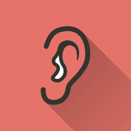 audible: Ear    vector icon with long shadow. Illustration   isolated on red background for graphic and web design.