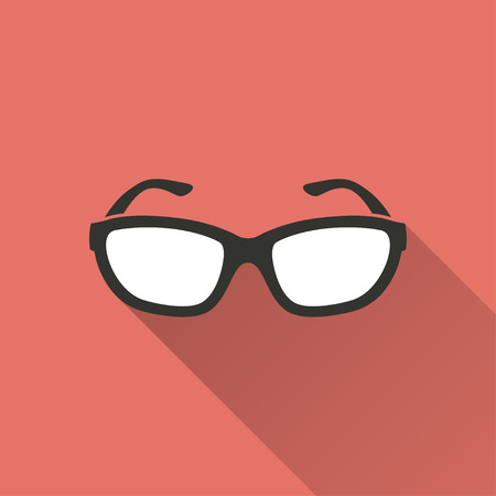 ocular: Glasses   vector icon with long shadow. White illustration isolated on red background for graphic and web design.