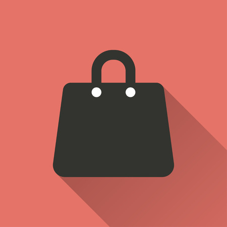shopping bag vector: Shopping bag   vector icon with long shadow. Illustration  isolated on red background for graphic and web design. Illustration