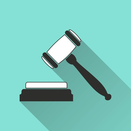 tribunal: Court   vector icon with long shadow. Illustration  isolated on green background for graphic and web design. Illustration