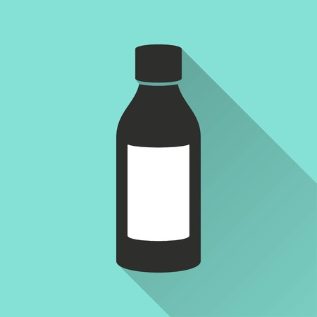 a substance vial: Medicine bottle   vector icon with long shadow. Illustration   isolated on green background for graphic and web design. Illustration