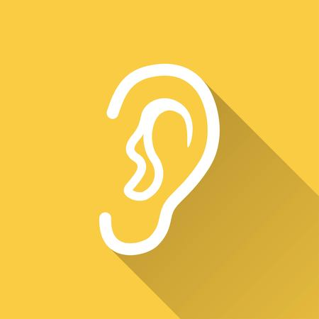 listener: Ear    vector icon with long shadow. White illustration isolated on yellow background for graphic and web design. Illustration