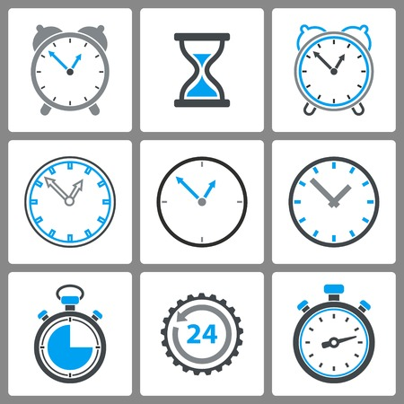 Set of  clock icons on white background for graphic design and Internet sites. Vector illustration.