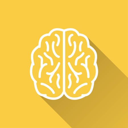 isolated  background: Brain   vector icon with long shadow. White illustration isolated on yellow background for graphic and web design.