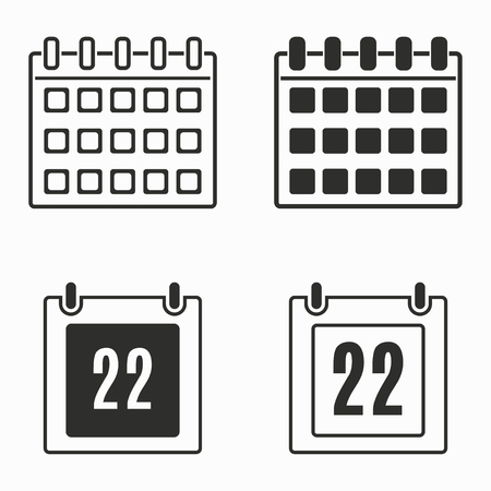 end of the days: Calendar    vector icons set. Black  illustration isolated on white  background for graphic and web design.