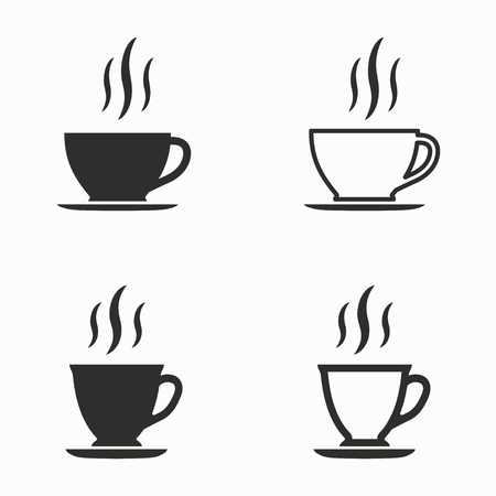 black coffee: Coffee cup     vector icons set. Black  illustration isolated on white  background for graphic and web design.
