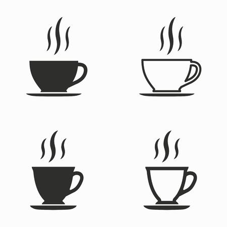 zestaw ikon wektorowych filiżanki kawy. Czarny ilustracji samodzielnie na białym tle do projektowania graficznego i internetowej. Ilustracje wektorowe