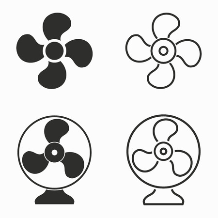 black fan: Fan    vector icons set. Black  illustration isolated on white  background for graphic and web design. Illustration