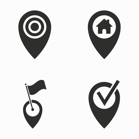 map pin: Map pin    vector icons set. Black  illustration isolated on white  background for graphic and web design.