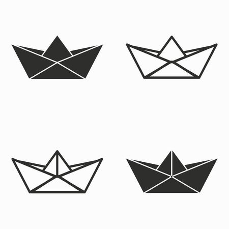 Paper boat    vector icons set. Black  illustration isolated on white  background for graphic and web design.
