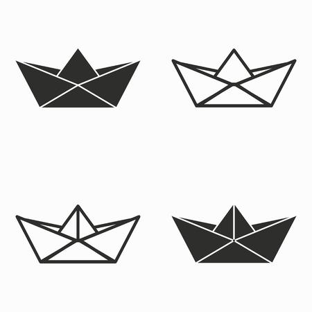 vecteur icônes bateau du papier. Noir illustration isolé sur fond blanc pour la conception graphique et web.