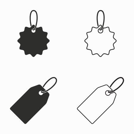 price label: Price tag    vector icons set. Black  illustration isolated on white  background for graphic and web design. Illustration