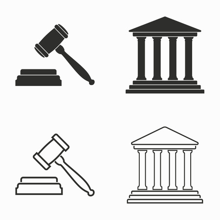 tribunal: Court    vector icons set. Black  illustration isolated on white  background for graphic and web design.