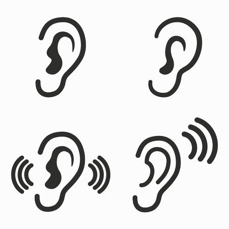 listener: Ear     vector icons set. Black  illustration isolated on white  background for graphic and web design.