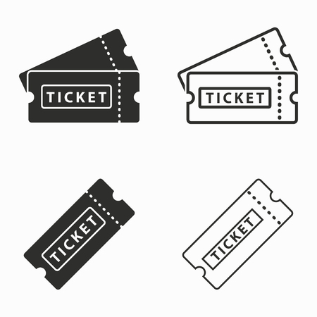 티켓 벡터 아이콘을 설정합니다. 검은 그림 그래픽 및 웹 디자인을위한 흰색 배경에 고립. 일러스트