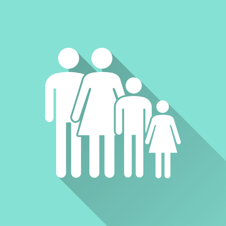 family isolated: Family   vector icon with long shadow. White illustration isolated on green background for graphic and web design.