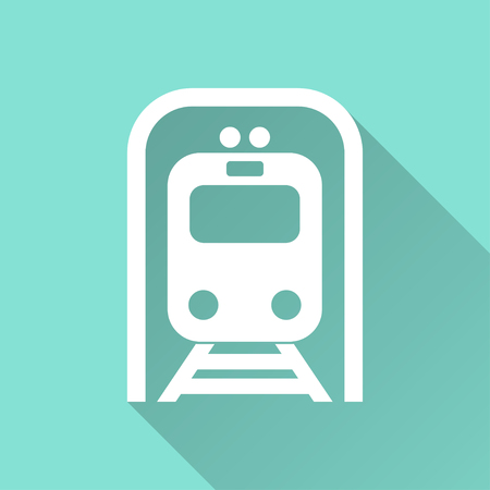 locomotion: Metro   vector icon with long shadow. White illustration isolated on green background for graphic and web design.