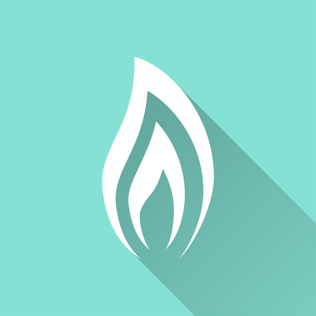 Fuel vector icon with long shadow. White illustration isolated on green background for graphic and web design.