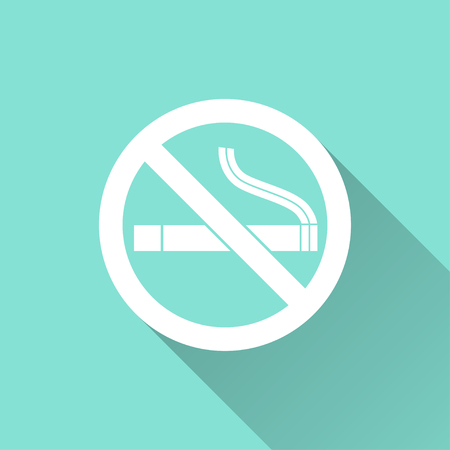 pernicious habit: Smoke   vector icon with long shadow. White illustration isolated on green background for graphic and web design.