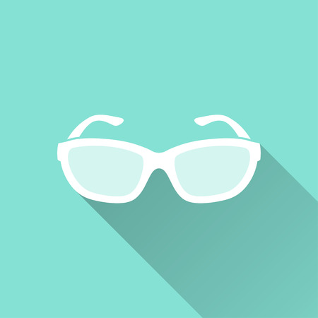 aviators: Sunglasses   vector icon with long shadow. White illustration isolated on green background for graphic and web design. Illustration