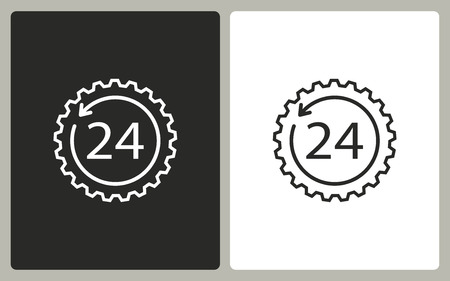 24 hour: 24 hour service   -  black and white icons. Vector illustration.