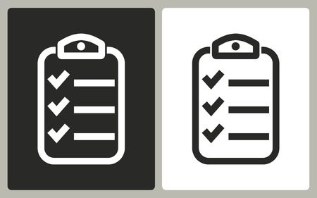 roster: Clipboard   -  black and white icons. Vector illustration.