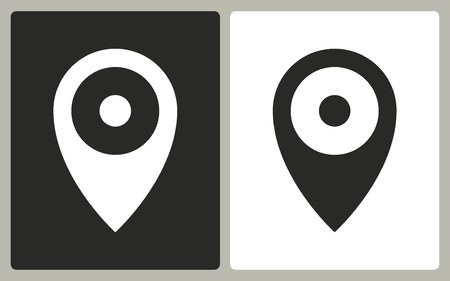 locate: Map pin   -  black and white icons. Vector illustration.