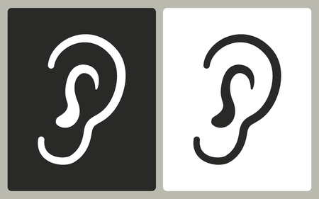 audible: Ear    -  black and white icons. Vector illustration. Illustration