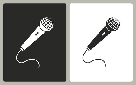 amplify: Microphone   -  black and white icons. Vector illustration.