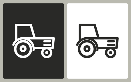 agronomy: Tractor   -  black and white icons. Vector illustration.