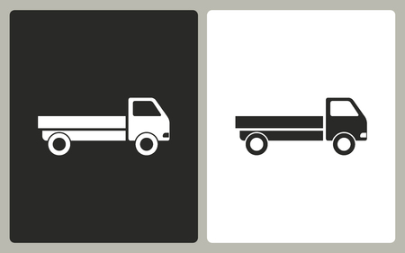 removal van: Truck   -  black and white icons. Vector illustration.
