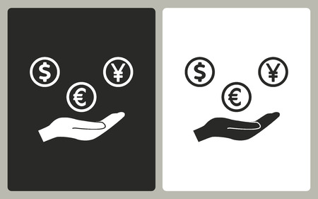 cash in hand: Cash on hand   -  black and white icons. Vector illustration. Illustration