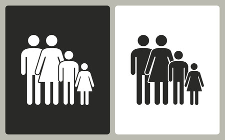 black family: Family   -  black and white icons. Vector illustration.