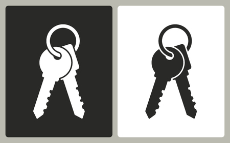 Key - black and white icons. Vector illustration.