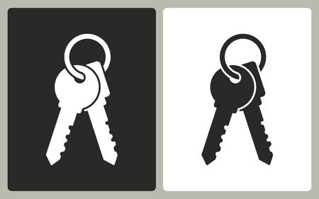 Key - negro y blanco iconos. Ilustración del vector.
