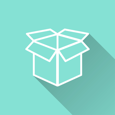 Box   vector icon with long shadow. White illustration isolated on green background for graphic and web design.