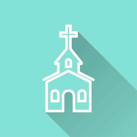 born again: Church   vector icon with long shadow. White illustration isolated on green background for graphic and web design. Illustration