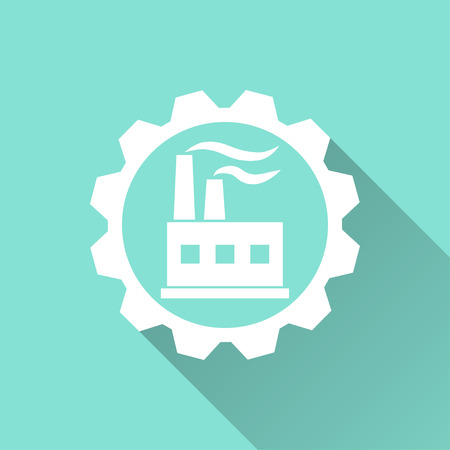 distillery: Factory   vector icon with long shadow. White illustration isolated on green background for graphic and web design.