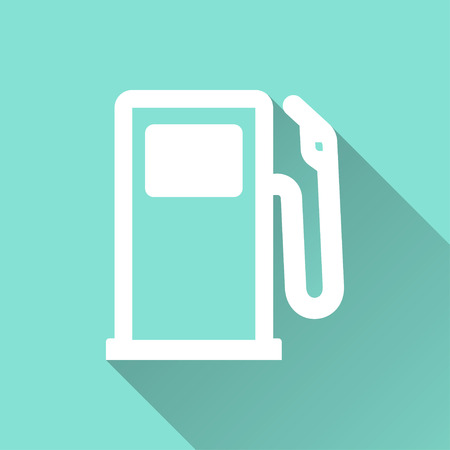 green fuel: Fuel   vector icon with long shadow. White illustration isolated on green background for graphic and web design. Illustration